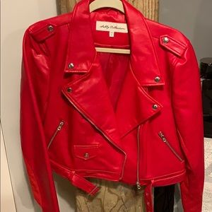 Bright cherry red faux leather jacket size XL NWT